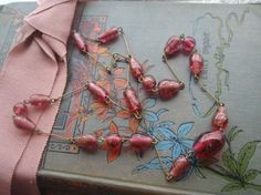 Beautiful Cranberry Glass Bead Necklace With Aventurine Swirls Vintage Style Vin