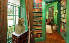 TAYINLOAN, ARGYLL, SCOTLAND    Libraries are often dark and musty places, so we love the lively acid green walls of this room. It belongs to a listed mansion house with 54 acres of garden and parks, and 24km of coastline, including sandy beaches.