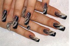 Nail Design Elegant (Cute slanted design) - Education and lifestyle Elegant Nail Designs, Long Nail Designs, Pretty Nail Designs, Pretty Nail Art, Elegant Nails, Stylish Nails, Beautiful Nail Art, Gorgeous Nails, Nail Art Designs