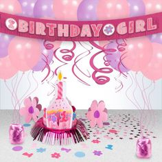 Cupcake 1st Birthday Girl Decoration Kit -Decoration Kits Party Supplies