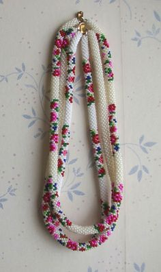 // seed bead necklace.