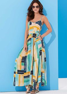 Block Dash Print Crinkle Dress by Kaleidoscope Linen Dresses, Casual Dresses, Fashion Dresses, Dresses With Sleeves, Maxi Dresses, Fit Flare Dress, Fit And Flare, Summer Outfits Women, Summer Dresses