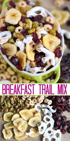 This easy and delicious Breakfast Trail Mix is great for busy mornings after school snacks and game time! Filled with lots of goodness this trail mix is the perfect combination of crunchy sweet and salty! // Mom On TImeout Trail Mix Recipes, Snack Mix Recipes, Healthy Recipes, Snack Mixes, Chex Mix, Breakfast Desayunos, Breakfast Recipes, Breakfast Ideas, Gourmet