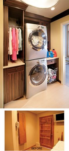 washer and dryer in the closet!!!! AMAZING! I need this so bad!!