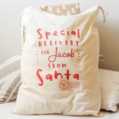 Santa Sack  Personalised Santa Gift Sack  por OldEnglishCo en Etsy