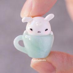 A cup o' sleepy bunny!! ☕️ . . #handmade #handcrafted #polymerclay #polymerclaycharms #charm #charms #kawaii #cute #chibi #diy #craft #crafts #bunny #miniature #anitabcute #cup #teacup #sleepy #snoozing