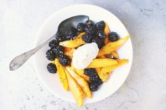 Blackberry + Mango Lemon Poppy Seed Fruit Salad with Earl Grey Whipped Coconut Cream | With Food + Love