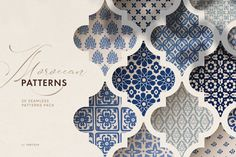 Ad : Moroccan patterns set - a carefully hand drawn collection of 20 islamic seamless vector patterns inspired by beautiful Arab and Moroccan tiles and Portuguese azulejos. Moroccan Pattern, Moroccan Design, Moroccan Tiles, Moroccan Wallpaper, Moroccan Art, Bohemian Pattern, Islamic Art Pattern, Arabic Pattern, Islamic Motifs