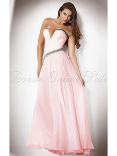 Allure A-line Floor-length V-neck Pink Chiffon Dress