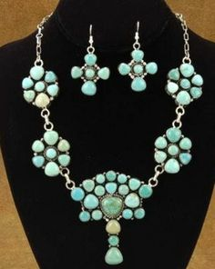 Turquoise & Sterling Silver Necklace & Earrings Set by Navajo Artist Bea Tom