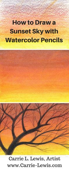 Step-by-step tutorial using the direct method to paint a sunset sky and bare trees using watercolor pencils and basic brushing techniques.