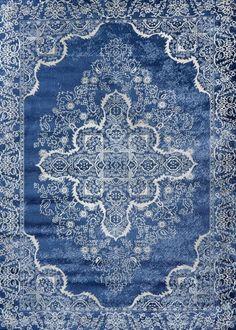 Blue Oriental Rug | Vintage Distressed Design | Clearance Area Rugs - Bargain Area Rugs