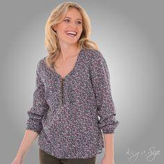 Leichte Bluse / Tunika mit Blümchen – 100% Baumwolle Gr.40 NEU