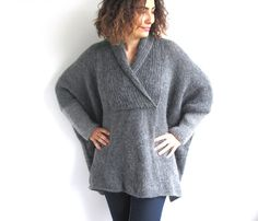 Plus Size Hand Knitted Sweater  Grey  Poncho  Tunic  Dress door afra, $104.00