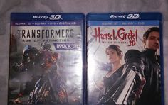 TRANSFORMERS AGE OF EXTINCTION HANSEL & GRETEL BLU RAY 3D NEW MOVIES