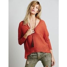 Free People Cropped Sweater NWOT Cozy Salmon/Coral/Rust wool cropped dolman sleeved sweater by free people. Terrific for layering. Such a rich color. Namaste Free People Sweaters