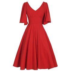 V Neck Swing Vintage Dress ($23) ❤ liked on Polyvore featuring dresses, v neckline dress, red dress, vintage dresses, vintage day dress and red vintage dress