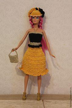Купить Лютик Барби - комбинированный, желто-черный, Для Барби, связано крючком, отделано бисером