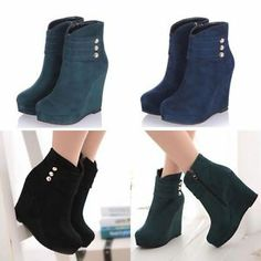 Women's Platform Shoes Zip Ankle Boots Wedge High Heels Rivets Velcro Sexy Pumps