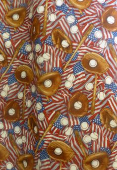 Baseball,and Flags,Patriotic~Cotton Fabric Clothing,Quilt,Elizabeth's Studio,208 Multi,, Fast Shipping,S149