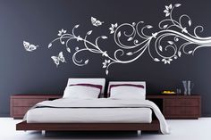 Más tamaños | D1368 VINIL HOGAR RAMA FLORAL DGC2073 | Flickr: ¡Intercambio de fotos! Simple Wall Paintings, Wall Painting Decor, Wall Stickers Vines, Bedroom Wall, Bedroom Decor, Inspiration Wand, Creative Wall Decor, Wall Design, Decoration