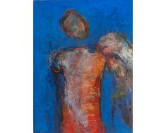 Înger pe albastru - pictură în ulei pe pânză, artist Iurie Cojocaru Painting, Painting Art, Paintings, Painted Canvas, Drawings