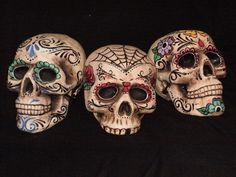 I decided to make some of my own Halloween decorations this year. I found the styrofoam skulls at Micheal's Craft Store. Researched some day of the dead. Day of the Dead Skulls 3 Day Of The Dead Party, Day Of The Dead Skull, Sugar Skull Makeup, Sugar Skull Art, Sugar Skulls, Mexico Day Of The Dead, Real Skull, Skull Painting, Body Painting