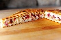 turkey (leftover), cranberry, pecans and swiss panini