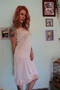 White Slip, Nylons, Cami, Chiffon, Slip On, Lingerie, How To Wear, Vintage, Beautiful