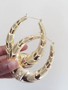 Oval Doorknocker Golden Bamboo Earrings by COSTUME204 on Etsy