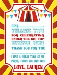 Circus / Carnival Birthday Party Thank you Note Card