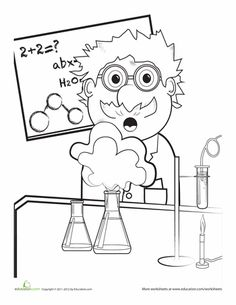 Worksheets: Mad Scientist Coloring Page