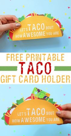Give money or a gift card in style with this awesome gift card holder in the shape of a taco! Perfect graduation gift or teacher gift! It& a free printable, so all you have to do is print, cut, and glue. Such a fun and creative way to give money as a gif Employee Appreciation, Teacher Appreciation Gifts, Teacher Gifts, Best Gifts For Teachers, Teacher Assistant Gifts, Craft Gifts, Diy Gifts, Gift Card Gifts, Gift Card Basket