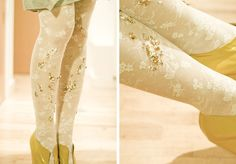 Park and Cube's DIY Embellished beads Tights - Love the gold and the lace