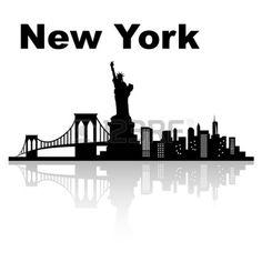 New york skyline - black and white vector illustration