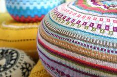 MEDIUM Upcycled Eco knit fairisle, cable floor cushion pouf