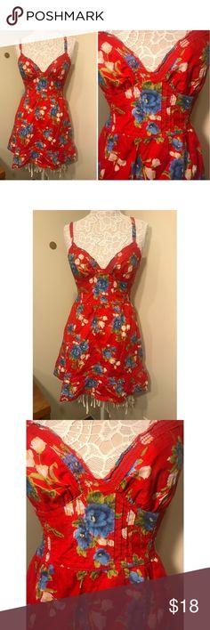 HOLLISTER red floral skater dress (Size L) HOLLISTER red skater dress,only worn once! Super comfortable and flowy. Dress does have lining! Very flattering! NO TRADES  BUNDLE DEALS Hollister Dresses Asymmetrical