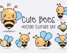 Premium Vector Clipart - vectores de alta calidad de las abejas - abejas lindas Set de imágenes prediseñadas - Kawaii - descarga inmediata - imágenes prediseñadas Kawaii