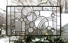 """Arts and Crafts Style Circles, Arcs, and Bevels-11.5"""" x 21""""--Stained Glass Window Panel by StainedGlassArtist on Etsy https://www.etsy.com/listing/118703640/arts-and-crafts-style-circles-arcs-and"""
