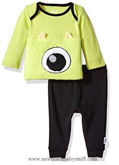 Baby Boy Clothes Disney Baby Boys' Monsters Inc 2-Piece Pant Set, Black, 3-6 Months