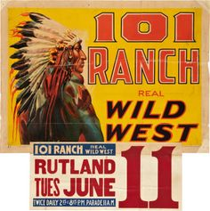 101 Ranch (circa Stock Poster X The 101 Ranch, which was founded in the Indian - Available at 2010 March Signature Movie. Vintage Prints, Vintage Posters, Tulsa Time, Ponca City, Wild West Show, Typography Design, Lettering, Poster Ads, Beautiful Posters