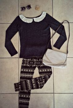 Look of the day... Sunglasses - R150 Vintage button earrings - R60 Tarynella knit top - R250 Thrift Scavenger vintage bag - R100 Jami-Lee knit leggings - R180