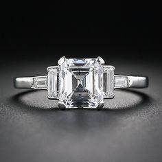 1.44 Carat E-Internally Flawless Emerald-Cut Diamond Art Deco Engagement Ring