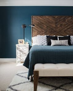 Sweet Dreams guaranteed with this DIY headboard . . . . . Search massive master on the blog for the details- wall color is classic teal from @hgtvhomebysherwinwilliams at @loweshomeimprovement #eastcoastcreative #theweekender #theweekenderdiy #lowespartner #diyheadboard #headboard #bedroom #masterbedroom #diymakeover #westelm #sodomino #abmathome