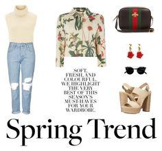 Spring Trends - contest by ninamulas on Polyvore - Isabel Marant top, Topshop jeans, MaxMara jacket, Michael Kors shoes, Gucci bag, Oscar de la Renta earrings.