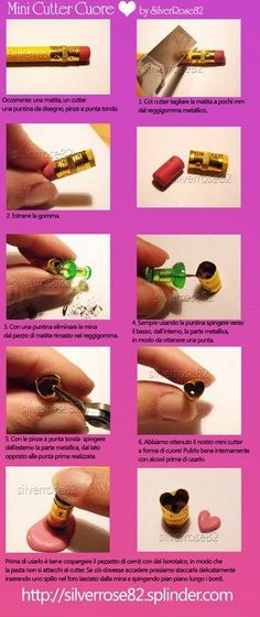 How to make a miniature polymer clay heart cutter tutorial from a pencil Polymer Clay Kunst, Polymer Clay Tools, Polymer Clay Miniatures, Fimo Clay, Polymer Clay Charms, Polymer Clay Projects, Polymer Clay Creations, Clay Beads, Clay Crafts