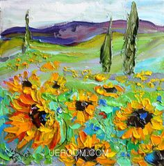 Original oil painting of sunflowers  buy this painting at http://www.ueroom.com #oilpainting         #handmadeoilpainting       #oilpaintingforsale       #originaloilpaintings      #ueroom    #LandscapeOilPainting    #FlowerPainting