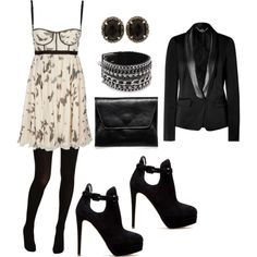 Love how a sexy dress becomes winter chic with a tux jacket, tux and dark accessories