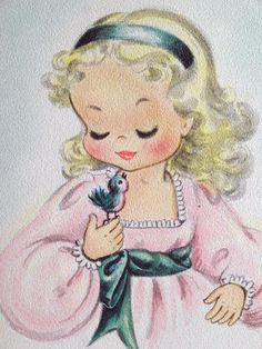 Pretty Girl and Her Bluebird Vintage Birthday Greeting Card Vintage Birthday Cards, Vintage Greeting Cards, Birthday Greeting Cards, Vintage Postcards, Vintage Children's Books, Vintage Girls, Vintage Art, Vintage Pictures, Vintage Images