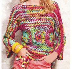 ergahandmade: Crochet Sweater + Diagrams + Video Tutorial Crochet Jumper, Crochet Cardigan, Crochet Granny, Filet Crochet, Knit Crochet, Hippie Crochet, Crochet Woman, Crochet Clothes, Crochet Patterns